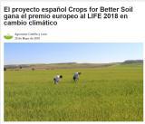 El proyecto español Crops for Better Soil gana el premio europeo al LIFE 2018 en cambio climático